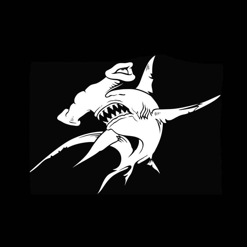 7-Inches by 4.4-Inches Premium Quality Black Vinyl CMI DD045 Shark Flame Decal Sticker