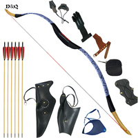 Archery Recurve Wooden Bow Set 28lbs with 6pc Wooden Arrows Complete Accessories for Hunting Shooting Practice Slingshot Longbow