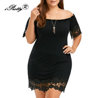 Elegant Large Size Dress For Women Sexy Off Shoulder Lace Stitching Short Sleeve Party Dress Plus