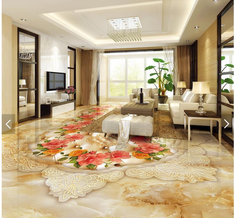 ФОТО 3D wall murals wallpaper floor marble flower Custom Photo self-adhesive 3D floor PVC waterproof floor