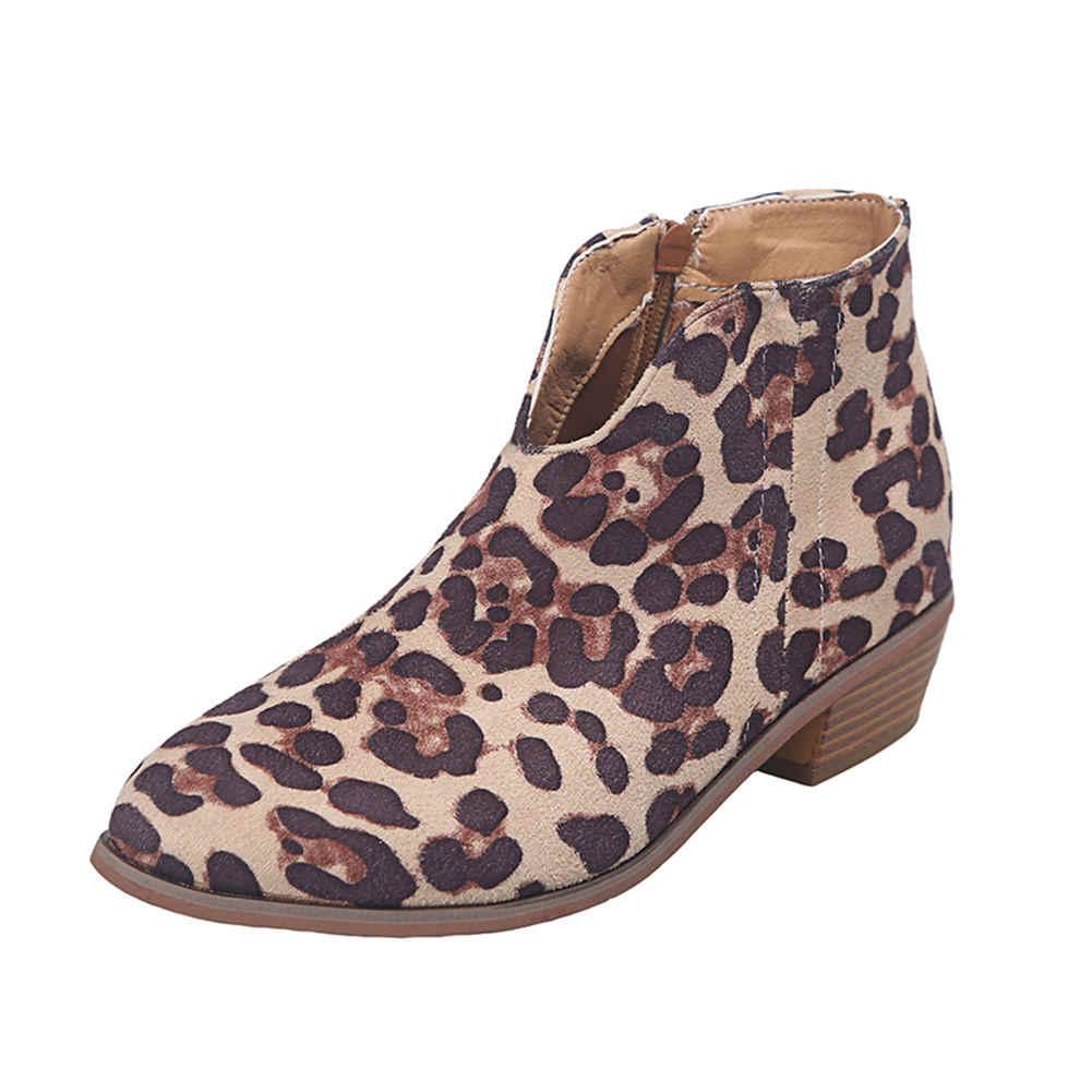 Распродажа; большие размеры 35-43; стильная женская обувь из флока с леопардовым принтом; женские модные осенние ботильоны на квадратном каблуке для отдыха; женские ботинки