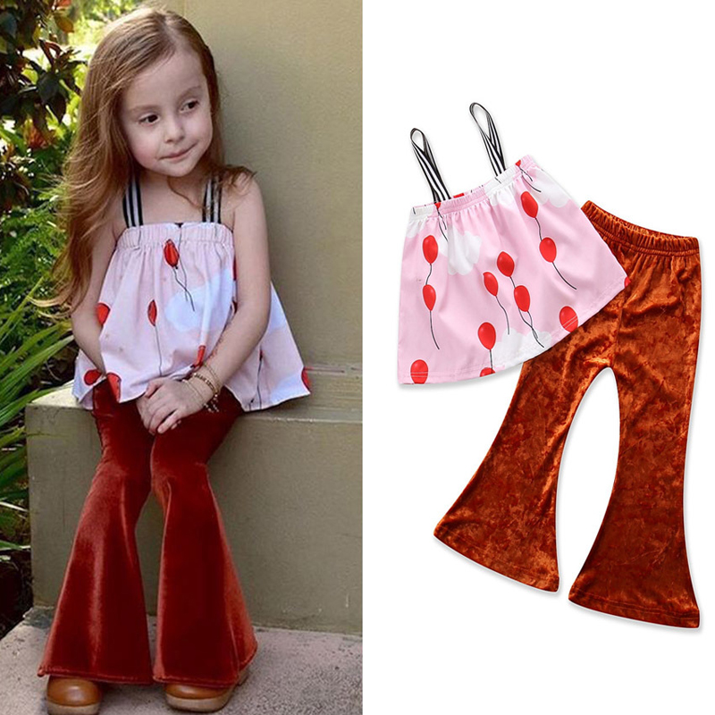 Kids Clothing 2018 New Fashion Girls Clothes Sets Pink Tops+Gold Velvet Flared Pants 2Pcs Suit European Style Baby Kids Clothes