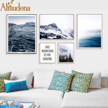 ALMUDENA Wall Art A4 Prints Mountain Sea Forest Ship Scenery Poster Minimalism Letters Nordic Canvas Painting Decor Living Room
