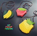 JC KIDS kids small fruit Coin purse Banana Strawberry Pineapple shape cute coin purse for girls PU Messenger Bag in stock