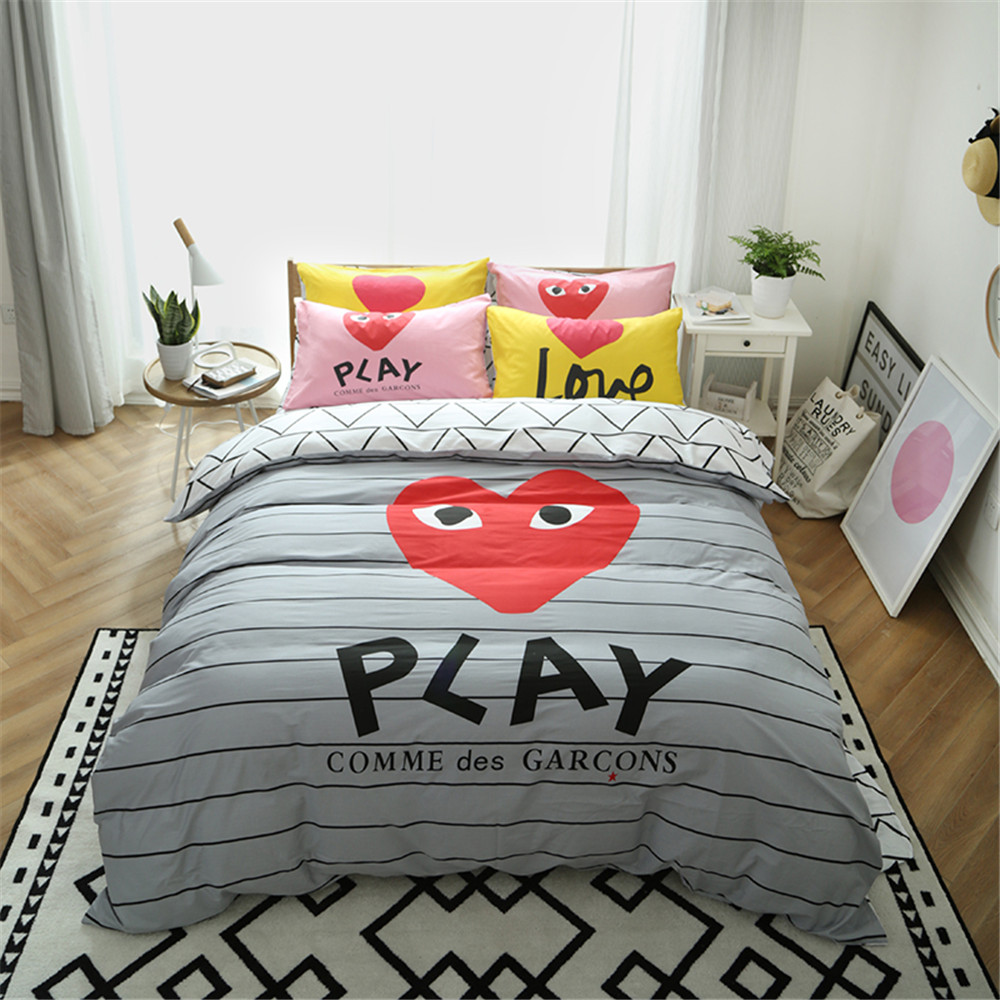 Brazilian embroidery bedspread designs - Cartoon Design Funny Play Love Gray Black Stripe Duvet Cover Children Adult 3 4pc Home