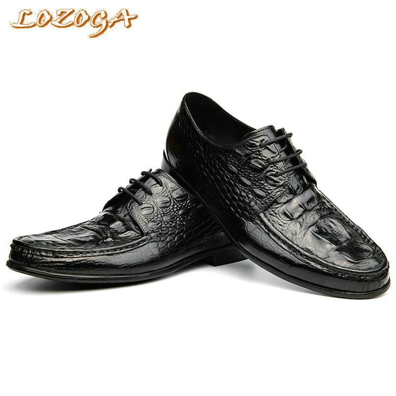 ФОТО New Luxury Men Shoes Genuine Leather Shoes High Quality Original Brand Crocodile Shoes Lace-up Men Flats Dress Shoes Size 37-44
