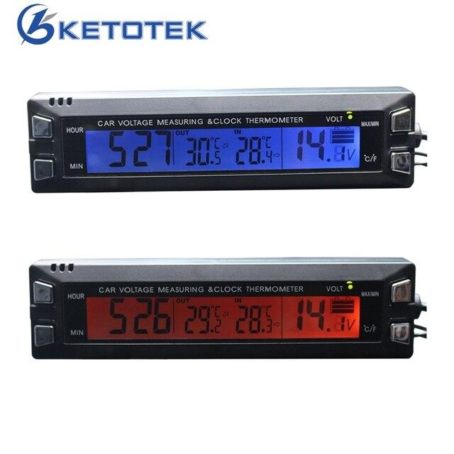 db35e221d9b EC30 Tensão Relógio Carro Termômetro 3 em 1 Digital Relógio Voltímetro  Termômetro Medidor de Temperatura com