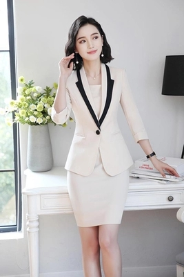 Hot Ladies Dress Suit for Work Full Sleeve Blazer Sleeveless Dress 2 Pieces Set 13