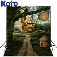 Kate impressão digital cenários de fotografia grande árvore casa de madeira dos desenhos animados para crianças fotografia cenários cênica para crianças