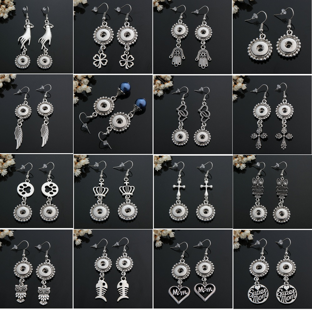 wholesale 12 pairs assorted mix styles women's 12mm interchangeable mini snaps charm button earrings brand new image