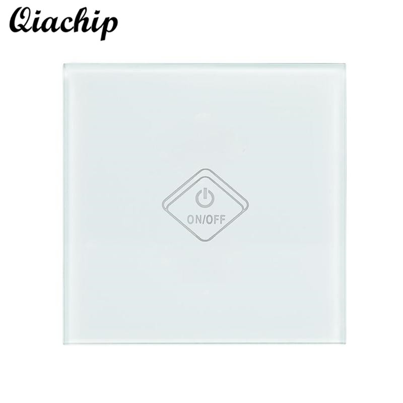 QIACHIP UK Plug WiFi Smart Switch 1 Gang Light Wall Switch Tempered Glass Panel APP Remote Control Work With Amazon Alexa Google ewelink us type 2 gang wall light smart switch touch control panel wifi remote control via smart phone work with alexa ewelink