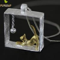 925 Sterling Silver Cat Necklace Silver Chain Kitty Necklaces Pendants For Women Girl Fine Jewelry Collares