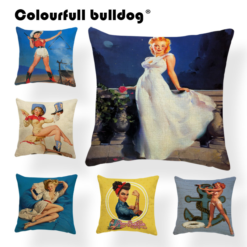 Pinup Girl Charming Woman Cushion Cover Digital Geometry High Heels Pillow Case Dog Pillowcases Beige Blue Bird Gifts 43Cm Warm