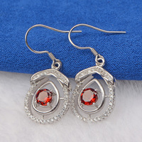 Korean New Wheat Sale 925 Sterling Silver Earrings Natural Cherry Red Chalcedony Ear Hanging Supplier For