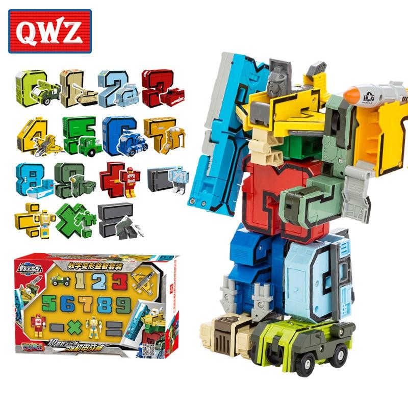 QWZ 10 Digit Number Mathematical Symbol Toys Transformation Alphabet A~M Robot Animal Toys Kids DIY Educational Building Blocks