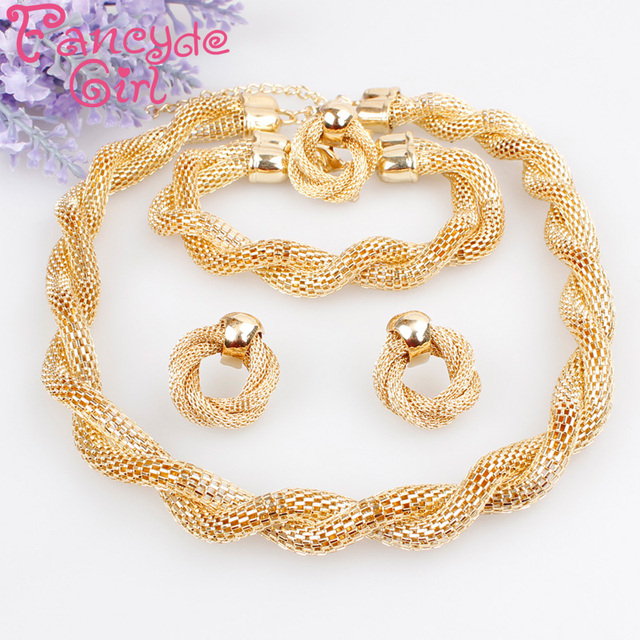 Fancyde Girl Products Exaggerated Big Choker Necklace Vintage Chunky Statement Chain Necklace Bracelet Earrings Ring Jewelry Set