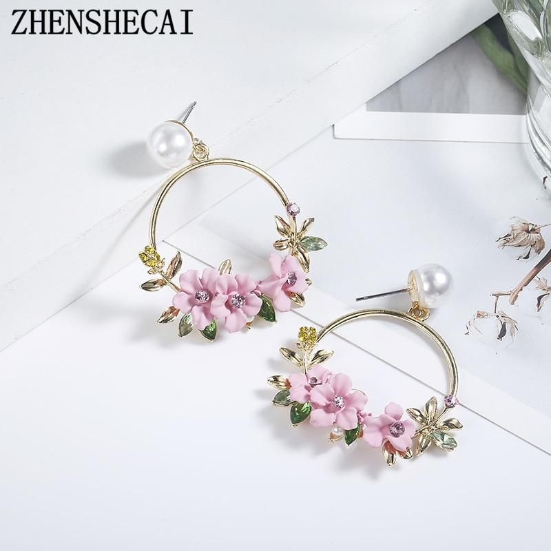 Trendy Cute Pink Flower Earrings For Women Girls Jewelry Female Rhinestone Gold Metal Round Circle Stud Earrings Gifts Brincos