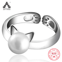 100% 925 Sterling Silver Ring Fashion Charm Cat Ears Natural Pearl Open Ring for Women Holiday Gift(China)