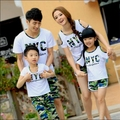 New 2017 Summer cotton Family set ,Mother girls sets, Father boys sets clothes, NYC camouflage t shirt+pants sets