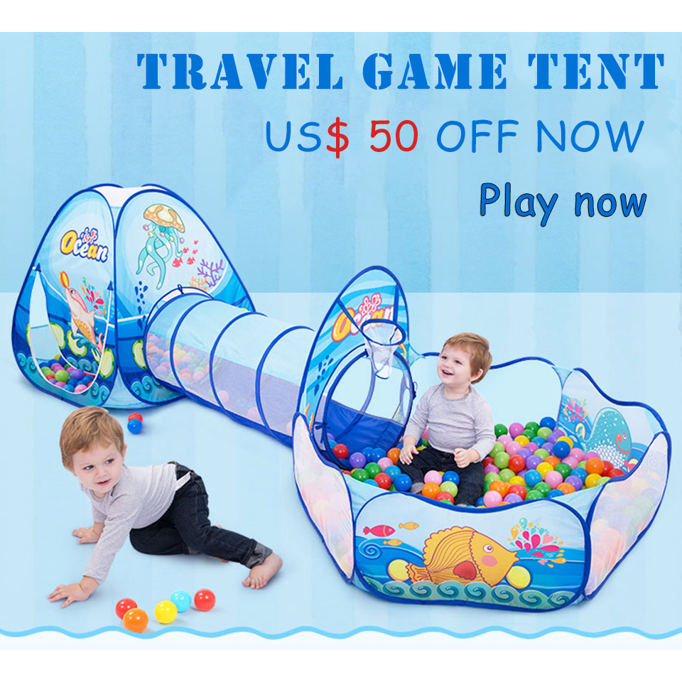 Large Size 330*90*120 CM Foldable Kids Tent Tunnel Play Tent Blue Ocean Fish Pattern House Tents Indoor Children Baby Ball Pool