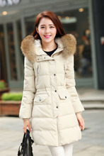 2014 New Winter White Duck Down Fur Collar Slim Ladies Hooded Long Down Coat Women Warm Jacket Casaco De Inverno Feminina