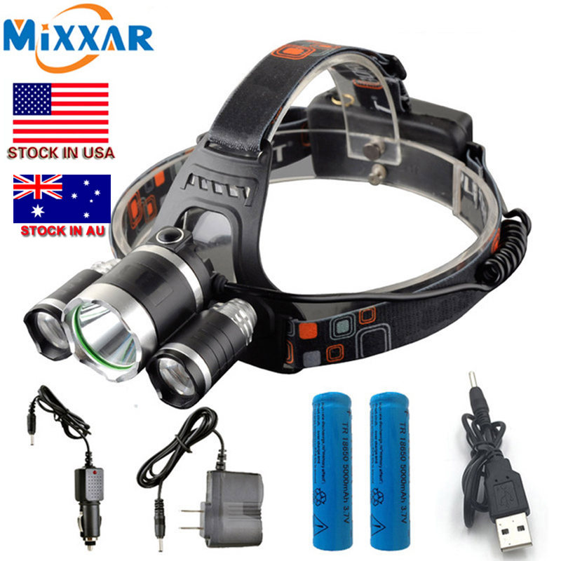 C 13000Lm T6 + 2 * R5 LED Del Faro Del Faro Testa Della Lampada Della Luce 4-mode + 2x18650 batteria + EU/US caricabatteria da Auto Luci di pesca
