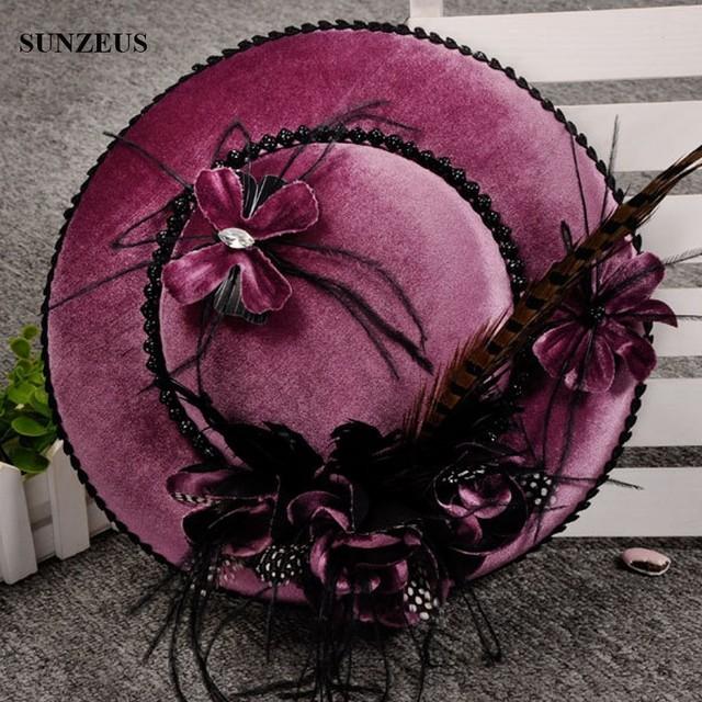 Chapéus do vintage de Alta Qualidade de Veludo Chapéu De Festa À Noite Para Senhora Azul Luxo Acessórios Do Casamento Com Penas Flores SQN004