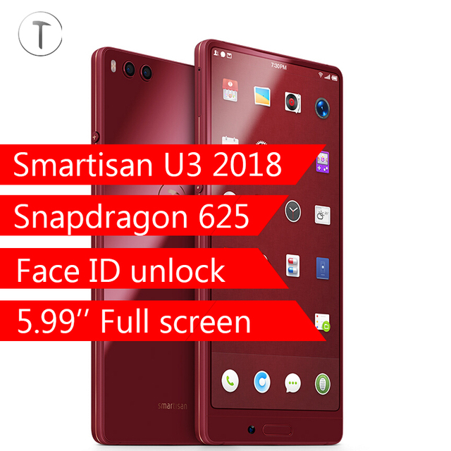 Original Smartisan U3 2018 Nut 3 Full Screen 4G 32G 64G Snapdragon 625 Octa core 5.99'' 4000mAh Face ID QuickCharge 3.0
