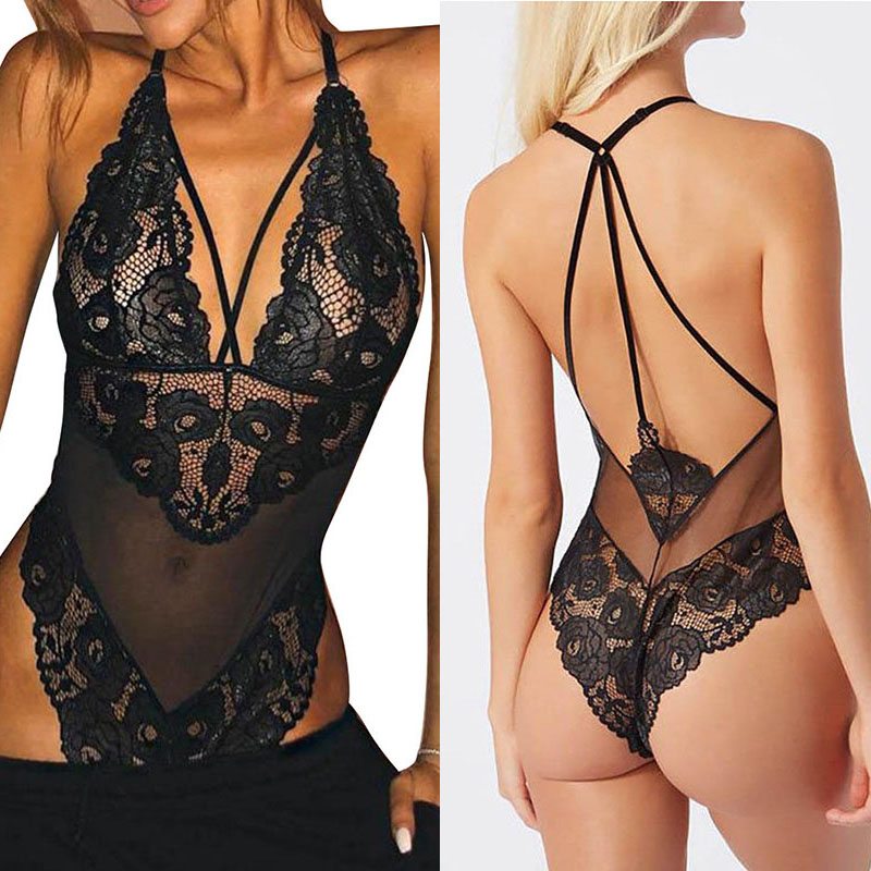 SEBOWEL Sexy Sheer Mesh Bodysuits for Woman Floral Lace Sleeveless 2019 Ladies Black Body Top Clothes Female Backless Bodysuit in Bodysuits from Women 39 s Clothing