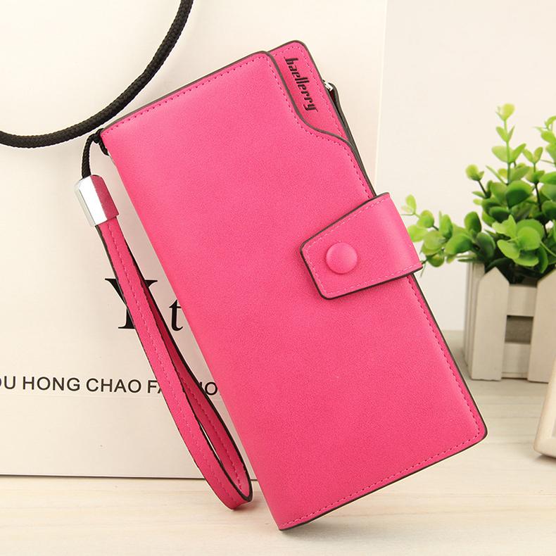 2018 New Wallet Split Leather Wallets Female Long Wallet Women Zipper Purse Money Bag pink one size 11