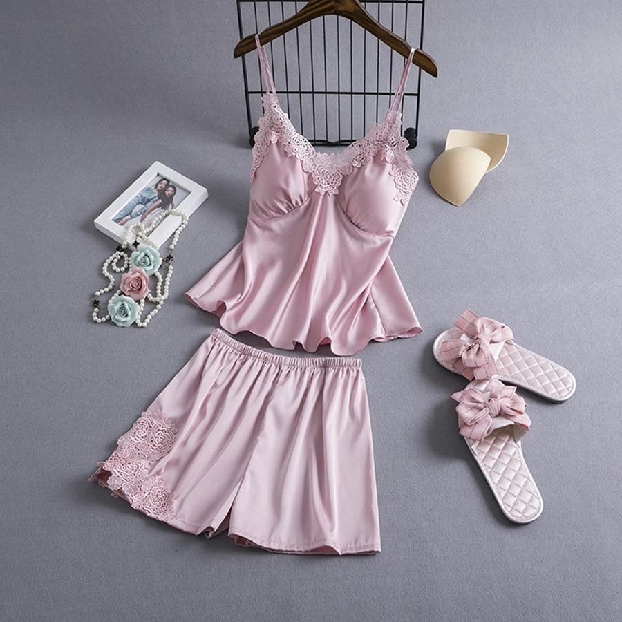 Pajamas Sets Silk Women Nightgowns Sexy Ladies Satin Nightwear Women Robe Nighties Sleepwear Shorts Combinaison Pyjama Femme