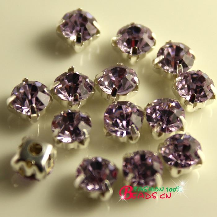 5 Sew On Crystal Glass Diamante Rhinestones Silver Setting 4 10mm NEW 6 8