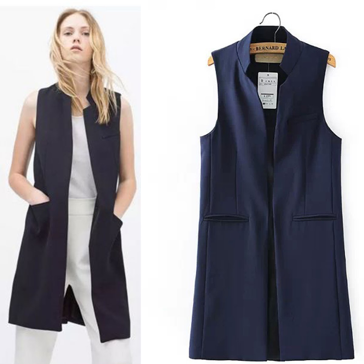 Popular Long Waistcoat Cardigan Coat Blazer Jacket Vest-Buy Cheap ...