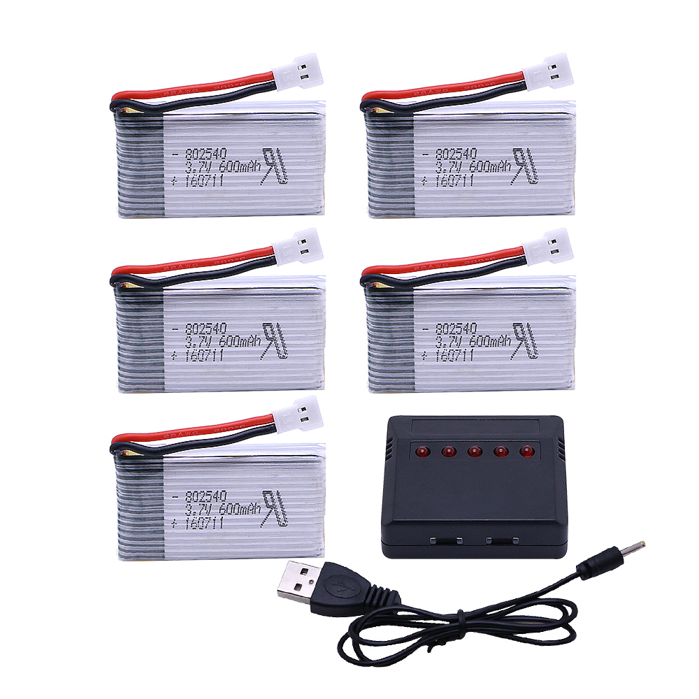 5PCS <font><b>3.7</b></font> V 600 mAh <font><b>Lipo</b></font> <font><b>Battery</b></font> Pack + 5 in1 charger for Syma X5 X5C X5S X5SC X5SW RC quadcopter Remote controlled aircraft image