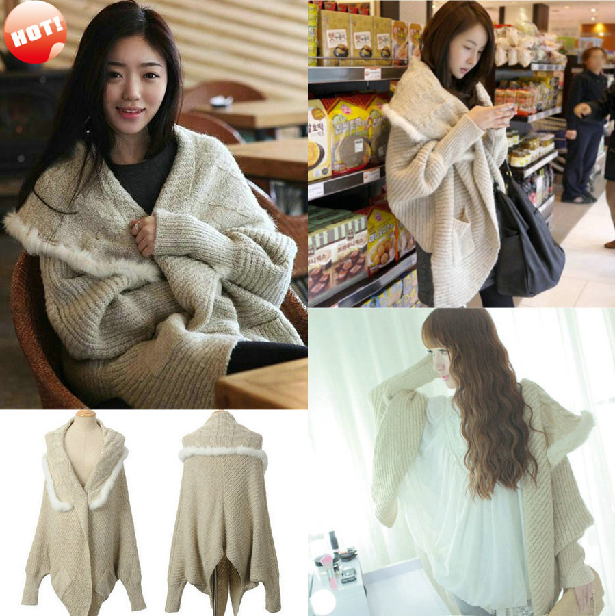 New Women High Quality Loose Fit Cable Knit Batwing Wool Cape ...