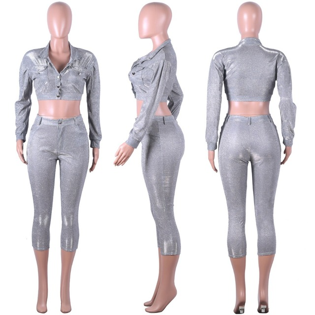 2019 New Bling Sparkly Two Pieces Set for Women Long Sleeve Jacket Coat Top + Bodycon Suits Sequin Sporting tracksuit outfits