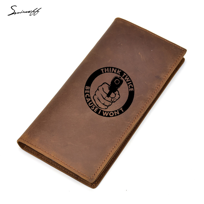 Gun Twice Because I Wont Think Purses Men Multi Card Holders Leather Men Wallets Zipper Slim Purses Custom Logo Wallet Boys