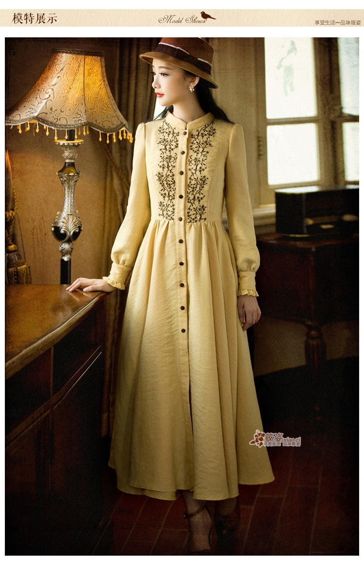 Demon Style 2014 Autumn Vintage Women 39 S Elegant Embroidery Stand Collar Dress Women 39 S Dress