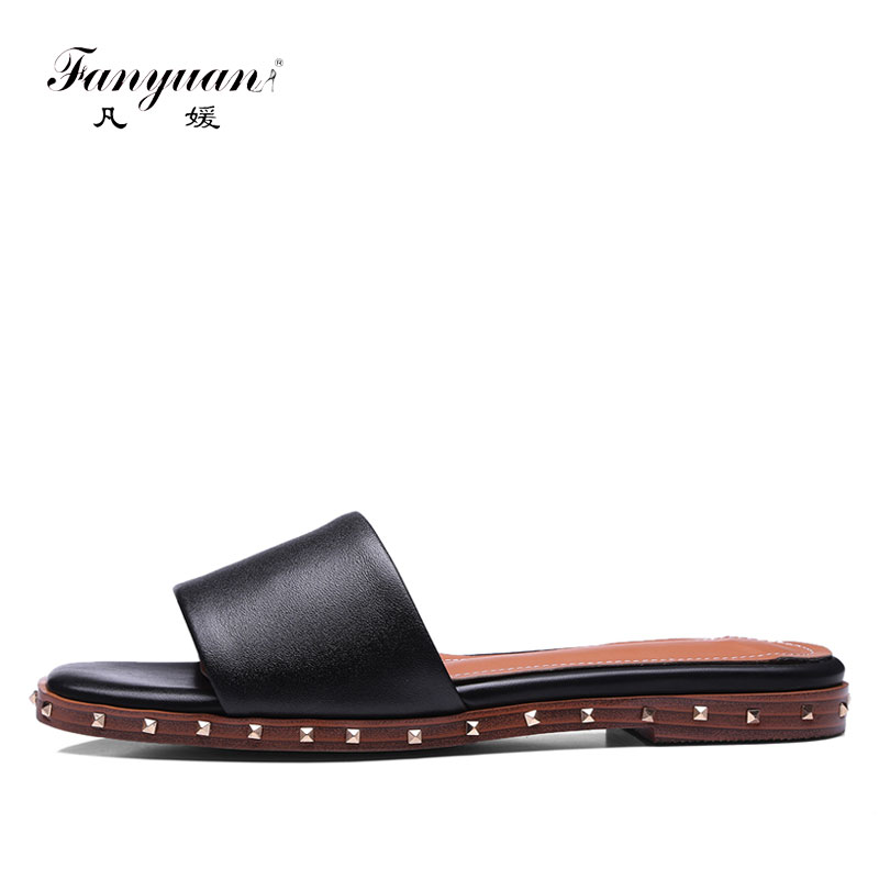 Fanyuan Casual Slippers Sandals Summer Flats Shoes Woman Flip Flops Cow Leather Rivet sandalias mujer Outside Flat Slides Women