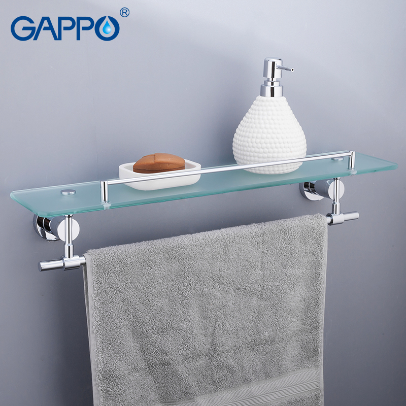 GAPPO Bathroom Shelves Glass Brass bathroom towel rack Double towel holder shelf wall mounted towel hangers nail free foldable antique brass bath towel rack active bathroom towel holder double towel shelf with hooks bathroom accessories