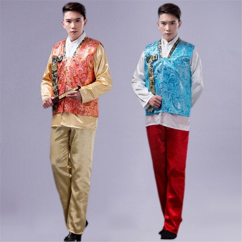 Men Traditional Korean Clothing Vest+Shirts+Pants Suit Hanbok Ancient Court Dance Costume Wedding Party Asian Kimono Festival