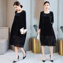 Hem Lace Patchwork Velour Dress 2018 Elegant Plus Size A-Line Velvet Dresses High Waist Velour Dresses Long Sleeve Winter Dress недорого