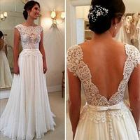 2016 High Quality Sexy Off The Shoulder Long A Line Luxury White Lace Half Sleeve Bride