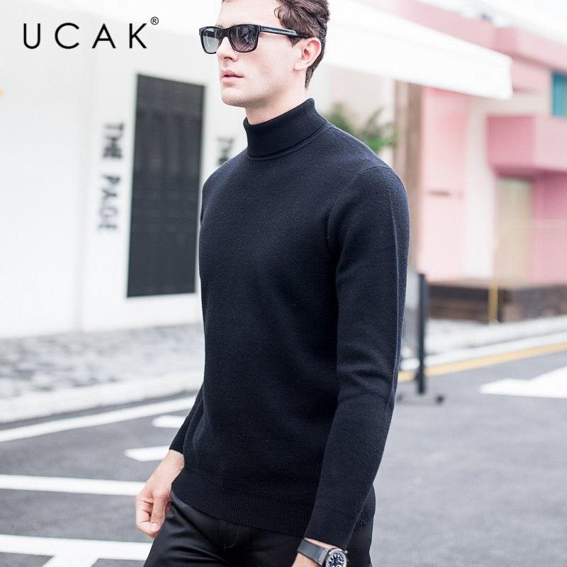 UCAK Brand Sweater Men Autumn Winter Thick Warm Turtleneck Pull Homme Pure Merino Wool Pullover Men Soft Cashmere Sweaters U3015