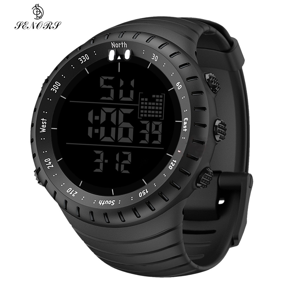 SENORS Outdoor Men Watches Sport Digital Woman Military Watch Male Watch Fashion Wristwatch Silicone Strap LED Clock Electronic