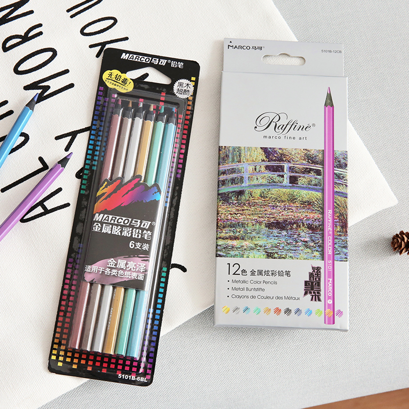 Metallic color pencil set Marco raffine fine art Black wood pencil metal Crayon painting drawing Stationery School supplies 6495 lomond fine art metallic