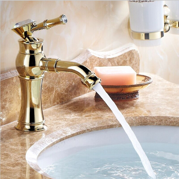 New Luxury Golden Basin Faucets With Diamond Swivel Mixer Taps Single Hole Sink Faucet Torneira Banheiro
