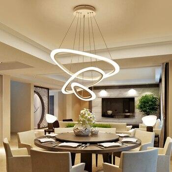 Modern 2/3/4 Ring Irregular LED Chandelier Living room dining room bedroom study office lighting fixtures Commercial shop lights