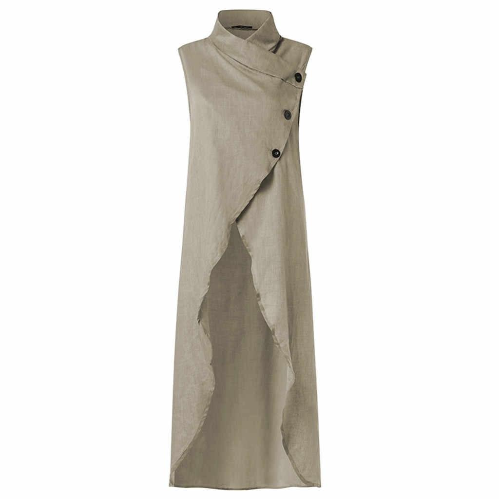 大サイズ 5XL 女性レディース不規則なドレス綿とリネン Vestidos スタンド襟固体色白ボタン Mujer