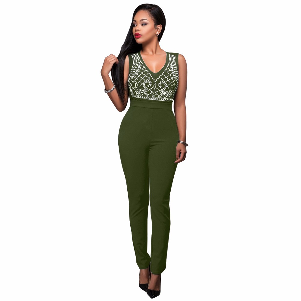 2017 New Summer Women Jumpsuit Bandage Black Bodysuit V-Neck Sleeveless Print Zipper Back Sexy Bodycon Jumpsuits And Rompers 12